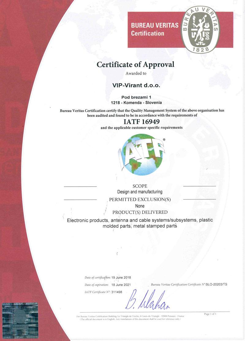 Certificates - VIP-VIRANT Group